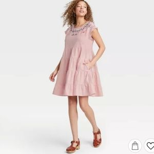 Knox Rose Pink Embroidered Tiered Babydoll Dress